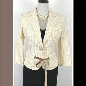 Carlisle Striped Belted Jacket Blazer Career Sz 6